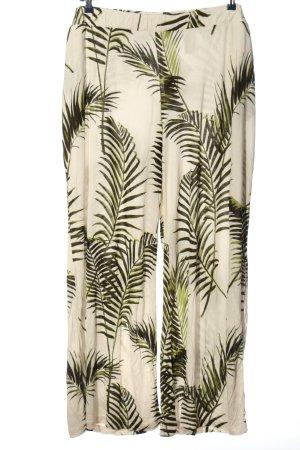 H&M Stoffhose weiß-grün Allover-Druck Casual-Look
