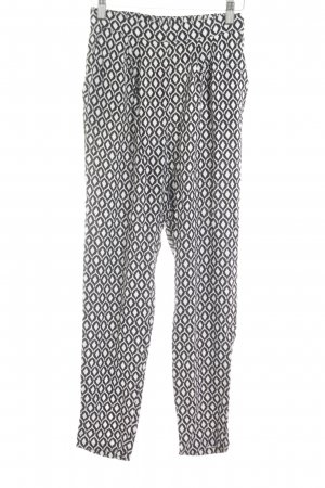 H&M Stoffhose weiß-schwarz Allover-Druck Casual-Look