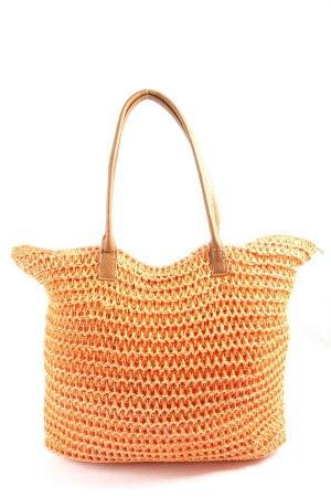 H&M Bolso de tela naranja claro Patrón de tejido look casual