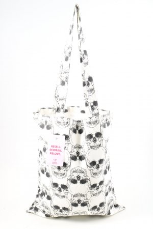 H&M Stofftasche weiß-schwarz Allover-Druck Casual-Look