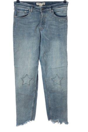 H&M Jeansy z prostymi nogawkami niebieski Nadruk z motywem W stylu casual