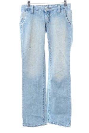 H&M Straight-Leg Jeans blau-weiß Casual-Look