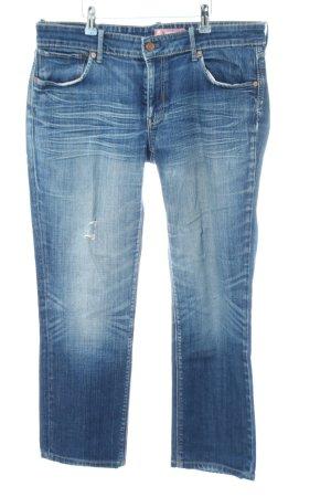H&M Jeansy z prostymi nogawkami niebieski Efekt znoszenia
