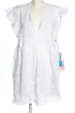 H&M Strandkleid weiß Schriftzug gestickt Casual-Look