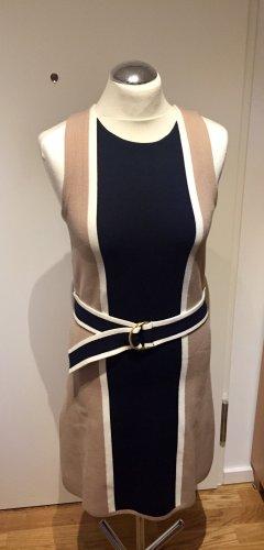 H&M Stretch-Etuikleid Beige Blau gestreift mit Gürtel Gr. 38 Neu