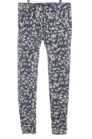H&M Stretch Jeans blau-weiß Allover-Druck Casual-Look