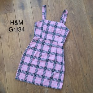 ❤️H&M❤️ Stretch Kleid Gr. 34 rosa schwarz kariert top