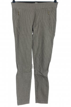 H&M Stretchhose weiß-schwarz Webmuster Casual-Look