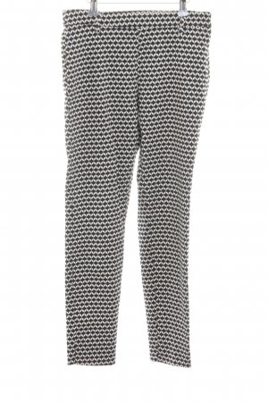 H&M Stretch Trousers black-white graphic pattern casual look