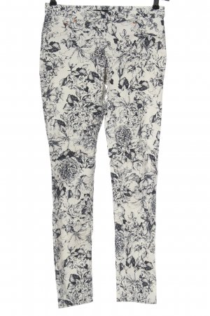 H&M Stretch Trousers white-blue allover print casual look