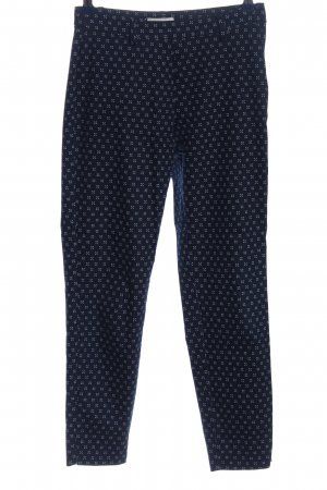 H&M Stretchhose blau-weiß abstraktes Muster Casual-Look