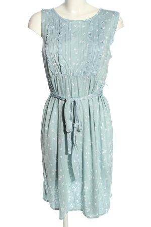 H&M Stretchkleid blau-weiß Allover-Druck Casual-Look