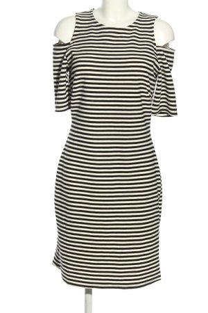 H&M Stretchkleid wollweiß-schwarz Allover-Druck Casual-Look