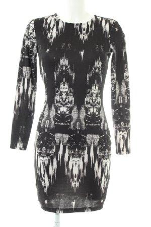 H&M Stretchkleid schwarz-weiß abstraktes Muster Casual-Look