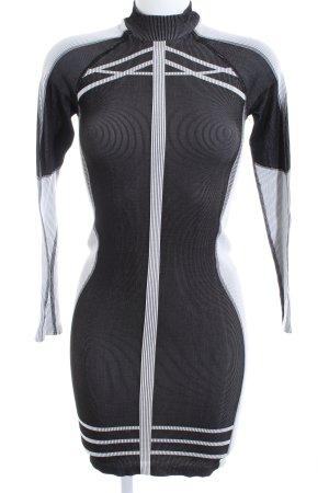 H&M Stretchkleid schwarz-hellgrau Streifenmuster extravaganter Stil
