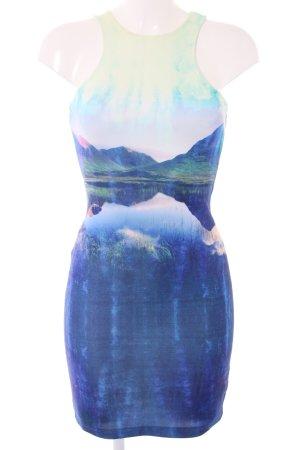 H&M Stretchkleid blau-grün abstraktes Muster Casual-Look