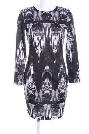 H&M Stretch jurk zwart-wit volledige print casual uitstraling