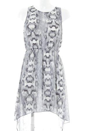 H&M Stretchkleid grau-weiß Casual-Look