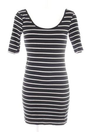 H&M Stretchkleid schwarz-weiß Streifenmuster Casual-Look