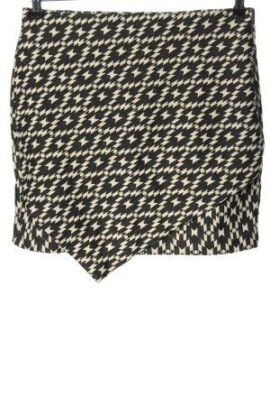 H&M Stretchrock schwarz-creme Allover-Druck Elegant