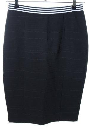 H&M Stretchrock schwarz-weiß Streifenmuster Casual-Look