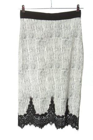 H&M Jupe stretch blanc-noir imprimé allover style décontracté