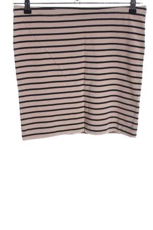 H&M Stretchrock wollweiß-schwarz Streifenmuster Casual-Look