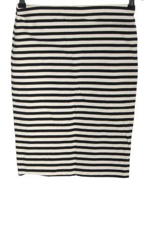 H&M Stretchrock weiß-schwarz Streifenmuster Casual-Look