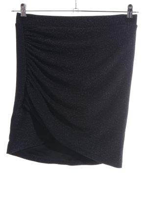 H&M Stretchrock schwarz-silberfarben Glitzer-Optik