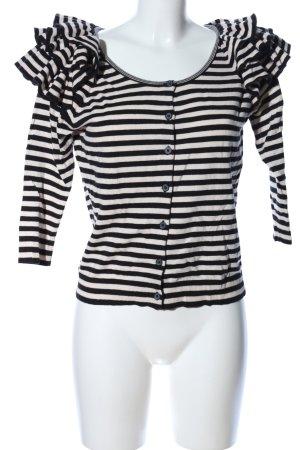 H&M Strick Cardigan weiß-schwarz Allover-Druck Casual-Look