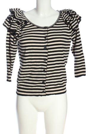 H&M Strick Cardigan schwarz-weiß Streifenmuster Casual-Look