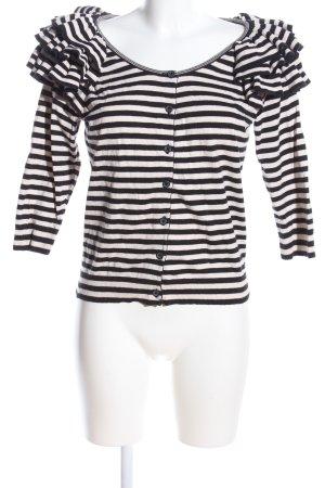 H&M Strick Cardigan weiß-schwarz Streifenmuster Casual-Look