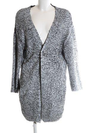 H&M Strick Cardigan hellgrau-schwarz abstraktes Muster Casual-Look