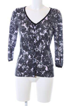 H&M Strick Cardigan schwarz-weiß Blumenmuster Casual-Look