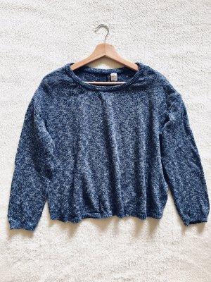 H&M Strick Pulli Longsleeve blau meliert Gr. M