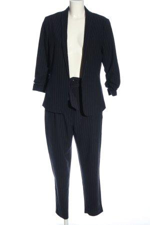H&M Strick Twin Set schwarz Streifenmuster Business-Look