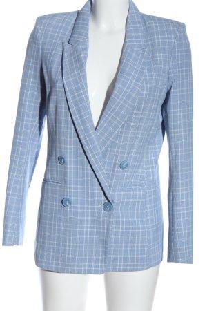 H&M Gebreide blazer blauw-wit geruite print casual uitstraling