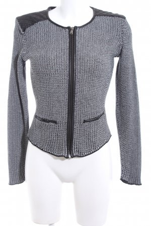 H&M Strickjacke hellgrau-schwarz Steppmuster Business-Look