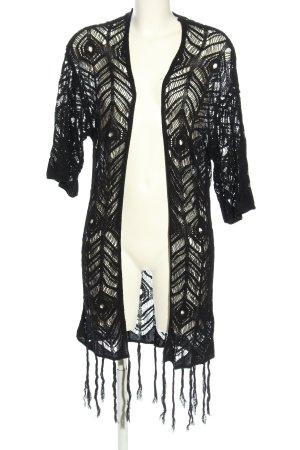 H&M Strickjacke schwarz grafisches Muster Street-Fashion-Look