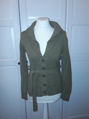 H&M Strickjacke Blazer Jacket Khaki Grün Tailiert Gr.S Winter olivegrün
