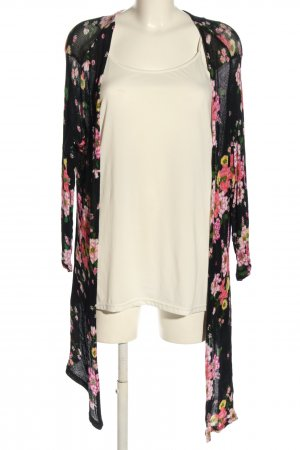 H&M Strickjacke schwarz-pink Blumenmuster Casual-Look