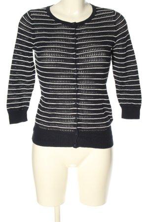 H&M Strickjacke dunkelblau-weiß Streifenmuster Casual-Look