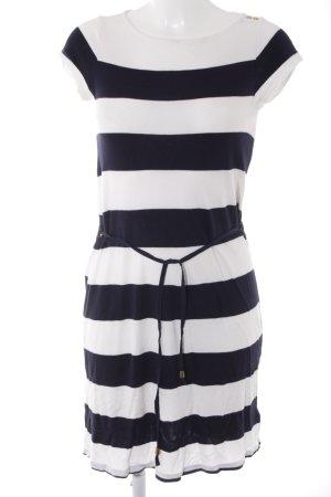 H&M Strickkleid weiß-dunkelblau Streifenmuster Metallknöpfe