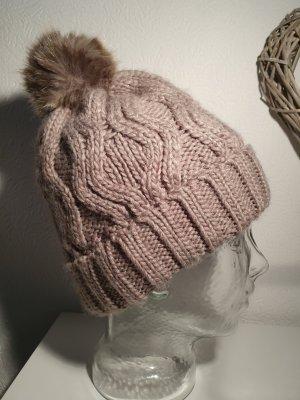 H&M Bonnet à pompon gris brun tissu mixte