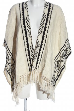 H&M Knitted Poncho cream-black graphic pattern casual look