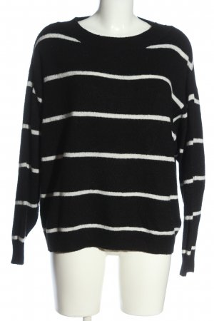 H&M Knitted Sweater black striped pattern casual look