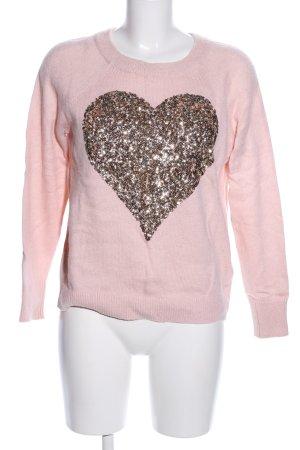 H&M Strickpullover pink-goldfarben Motivdruck Casual-Look