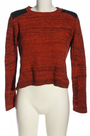 H&M Strickpullover rot-schwarz meliert Casual-Look