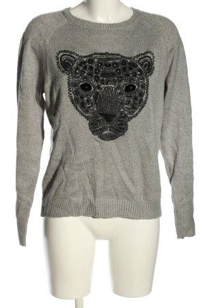 H&M Strickpullover hellgrau-schwarz Motivdruck Casual-Look