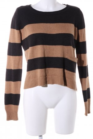 H&M Strickpullover schwarz-braun Streifenmuster Casual-Look